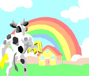 Buff cow with yellow shirts heads to house under the rainbow