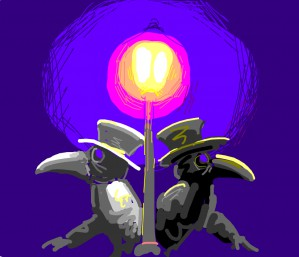 Two plague doctors peeking out from either side of a lampost