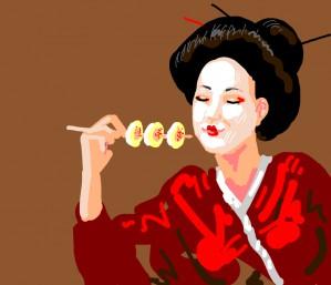 Geisha eats deviled eggs on a skewer - loves them!