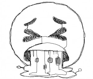 Single Line Drawing: Emoji Face Vomiting