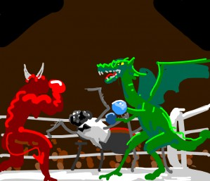 Boxing contest, 🕷️referees🐉vs.👹