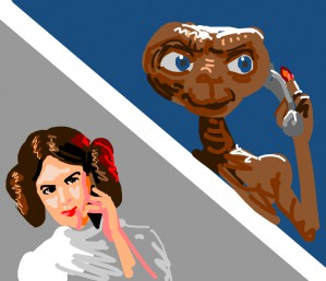 Princess Leia and ET have a phone conversation