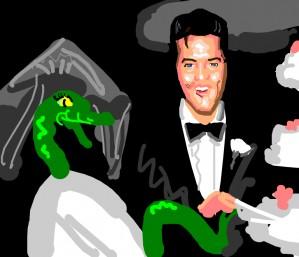 Elvis Presley marries a green snake wearing dress