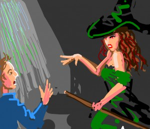 Red eyes beautiful witch curses man