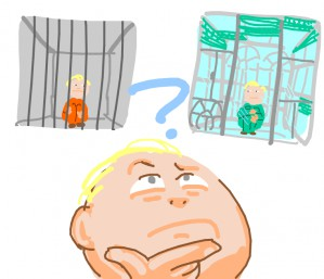 Boy ponders if he'd rather be trapped behind bars or windows