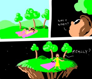 earth dissolves, island with 3 trees left, girls says really
