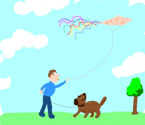 @ghored +dog flies a freckled kite with colorful ribbons