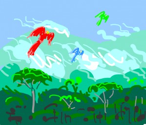 Red, blue, and green parrot flies high above the forest