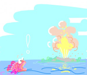Pink fish watching an Island explode from a far